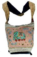 Cotton Canvas Multi Color Embroidered Elephant Handcrafted Mirror Work Tote Hippie Indian Bag