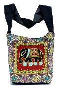 Cotton Canvas Multi Color Embroidered Elephant Handcrafted Tote Hippie Indian Sling Cross Body Bag