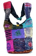 Cotton Canvas Multi Color Ripped Nepal Indian Sling Cross Body Long Shoulder Bag