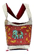 Cotton Canvas Red Multi Color Embroidered Elephant Handcrafted Mirror Work Tote Hippie Indian Bag
