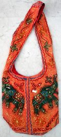 Cotton Canvas Sequin Embroidered Elephant Handcrafted Sitara Work Tote Hippie Indian Sling Cross Body Bag