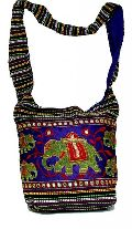 Cotton Sequin Embroidered Elephant Sitara Work Multi Color Indian Bag