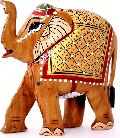 Indian Royal Elephant Gold Plated Wooden Sculpture Statue
