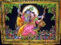 Lord Krishna, Goddess Radha Sequin Sitara Batik Cotton Wall Tapestry