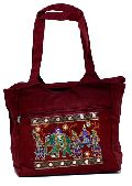 Traditional Elephant Design Dark Red Color Embroidered Indian Rajasthani Style Tote Ladies Bag