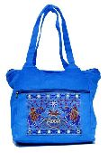 Traditional Ethnic Elephant Design Blue Color Embroidered Indian Rajasthani Style Tote Ladies Bag