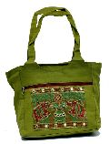 Traditional Ethnic Elephant Design Green Color Embroidered Indian Rajasthani Style Tote Ladies Sling