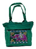 Traditional Ethnic Elephant Design Green Color Embroidered Indian Rajasthani Style Tote Ladies Bag