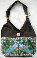 Traditional Ethnic Peacock Design Embroidery Indian Rajasthani Art Deco Tote Ladies Sling Cotton Handbag