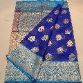 banaras kora silk sarees with contrast pallu and blouse
