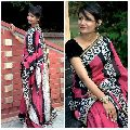 silk cotton hand block printed sarees with blouse