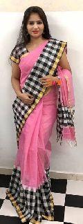 chanderi cotton checkered sarees
