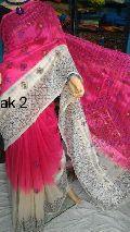 semi tussar silk kantha stitch sarees