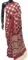 soft cotton block printed sarees