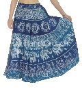 Beautiful blue designer elephant printed long wrap skirt
