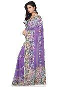 Aarya Ethnics Purple Color Georgette Embroidered Saree_DN-86