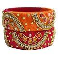 red silk thread bangle (2 cm) width
