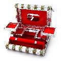 Colorful Mayur Meenakari Work Red Jewellery Box