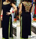 black Georgette Embroidery Mirror Handwork Straight cut Salwar suit