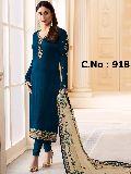 designer blue Embroidered Straight cut Salwar suit