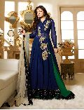 blue Embroidery anarkali salwar suit