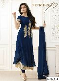 blue Georgette Embroidery anarkali salwar suit