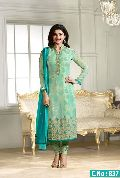 designer Light Green Embroidered Straight cut Salwar suit
