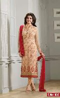 peach Embroidered Straight cut Salwar suit