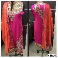 designer pink Georgette Embroidery Mirror Handwork Straight cut Salwar suit