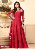 designer red Embroidered anarkali Salwar suit