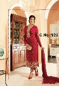 designer red Embroidered Straight cut Salwar suit