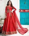red Embroidery anarkali salwar suit