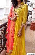 yellow Embroidery Mirror Handwork anarkali salwar suit