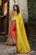 Shaily Yellow Georgette Heavy Embroidered Saree