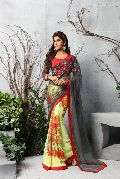 Shaily Yellow & Grey Georgette Printed Saree