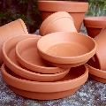 Round terracotta plant pot
