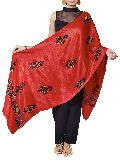 Blood Red Mashru Hand Embroidered Dupatta
