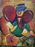Ganesha with Hat Abstract Modern Acrylic Painting