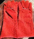 Red colour gloves
