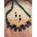 Metal Threaded Necklace Set