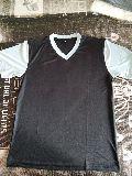 Black and White Polyester V Neck T-Shirt