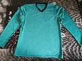 Sea  Green Polyester V Neck Full Sleeve T-Shirt