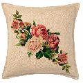 Floral Print Jute Cushion Covers