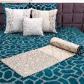 Embroidered and quilted velvet bed cover