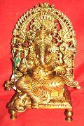Brass Ganesh Sitting On Throne