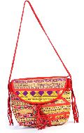 Handmade Red Color Leather Embroidery Flap Bag