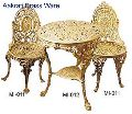 Brass Coffee Table and Chair Set