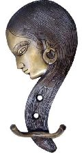 Hanger with lady face made in metal brass with bronze finish