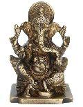 Hindu Idol Ganpati sitting on a throne Brass Statue