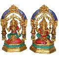 Laxmi Ganesh metal brass statue with small bells